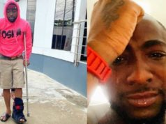 Davido Spotted Walking With Crutches After Breaking His Leg (Photos)