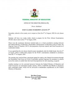 Breaking News: Secondary School Students In Exit Classes To Resume