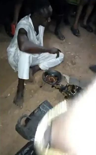 Islamic Cleric Caught With Sacrifice At Night, Forced To Eat It (Video)