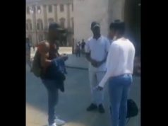 Drama As Man Sees His Girlfriend With Another Man After She Lied To Him That She Was Travelling (Video)