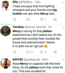 How Nigerians Reacted After BBNaija's Mercy Says She's Too Busy To Sit At Home And Watch The Reality Show