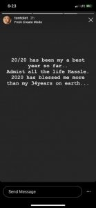 """""""2020 Has Blessed Me More Than My 34 Years On Earth"""" – Tonto Dike"""