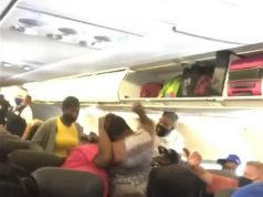 Drama As Passengers Throw Punches In Aisle Of An American Airlines Flight As They Argue Over Face Masks