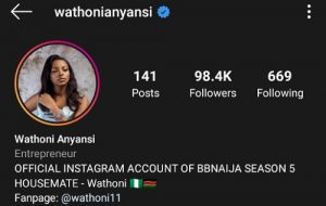 """BBNaija2020: Wathoni Joins The """"Blue Tick Geng"""", Becomes 3rd Female Housemate To Be Verified On Instagram"""