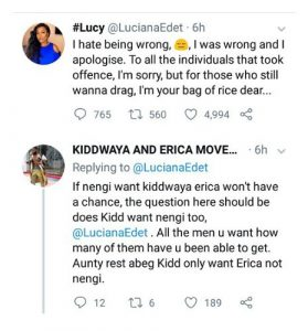 BBNaija's Lucy Apologizes For Saying Erica Wouldn't Stand A Chance If Nengi Wanted Kiddwaya