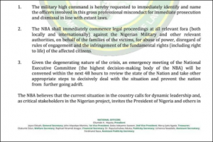 NBA Condemns The Killing Of Peaceful #EndSARS Protesters By The Nigerian Military In Lagos And Make Demands