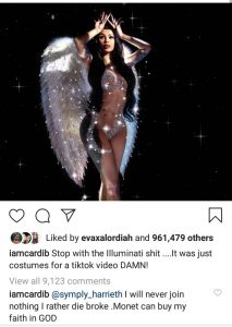 """I'll Rather Die Broke Than Join Illuminati""- Cardi B Says After Her New Photo Sparked Illuminati Speculations"