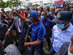 Governor Sanwo-Olu Joins #EndSARS Protest, Carries #EndPoliceBrutality Placard (Photos)